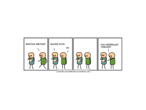 cartoons comics humor funny suicide note cyanide and happiness black ...