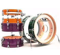 SJC Drums - Nice SEE THROUGH clear bass drum shown, with purple and ...