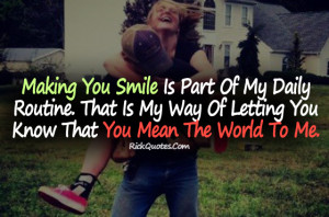 Love Quotes | Mean the World to Me Couple Hug Love Kiss Fun