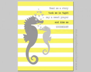 Sea Horse Decor Wall Art Print, Per sonalized Read Me A Story Quote ...