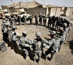 ... Soldiers in prayer to the Lord who holds their lives in His hand. This