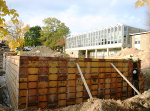 Here's a picture of the basement walls being prepared, as at October 9 ...