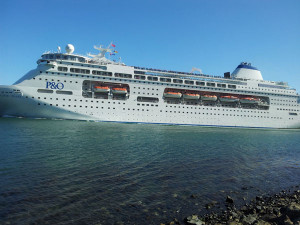 Cruiseship entering Otago Harbour