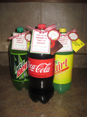 Teacher's favorite soda with note attached that says