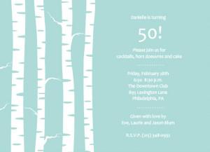 Birch Trees Winter Birthday Party Invite