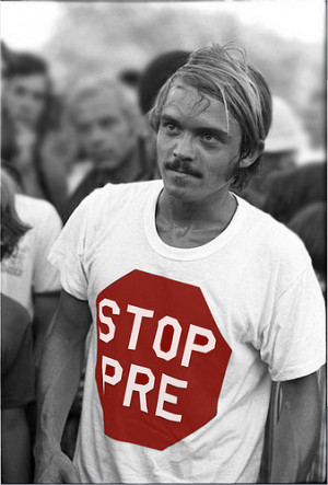 Steve Prefontaine in Stop Pre t-shirt mixes with the fans at Hayward ...