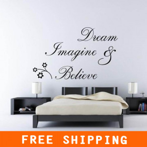 Family Funny Dream Believe Flowers Creative Quote Removable Vinyl Home ...