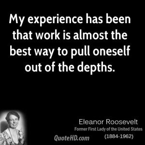 My experience has been that work is almost the best way to pull ...