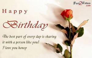 love you honey happy birthday Happy Birthday Honey Quotes