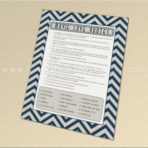 Movie Love Quotes Bridal Shower Game Cards {navy blue and gray / grey ...