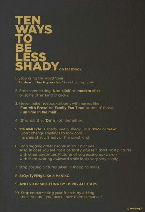 How to be less shady