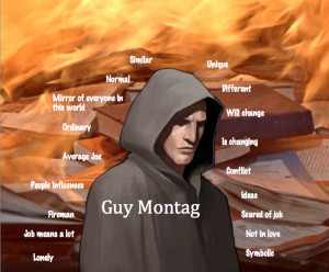 """the character of guy montag in the novel fahrenheit 451 Main character arc in fahrenheit 451 """"the essence of an independent mind lies not only in what it thinks, but how it thinks, and what causes it to think"""" in."""