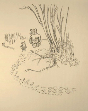 Drawing of Winnie-the-Pooh and his friend, Piglet, inspired by E. H ...
