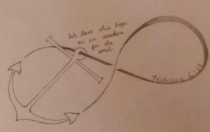 Anchor & bible verse tattoo sketch