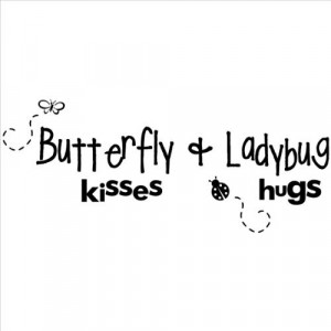 Butterfly Kisses and Lady Bug Hugs wall sayings vinyl lettering home ...