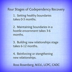 Four Stages of Codependency Recovery Video by Ross Rosenberg at youtu ...