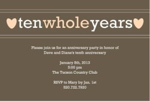 10th Anniversary Invitations – Wording Inspiration