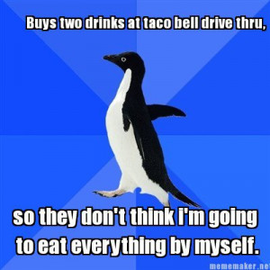 Buys two drinks at taco bell drive thru,