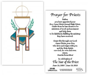 Symbolic Chalice with Year of the Priest Prayer - Pack of 100 Paper ...