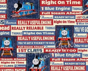Thomas the Tank Engine Train Fabric Denim Blue Jean TRAIN Railroad ...