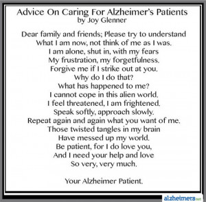 Poem: Advice on Caring for Alzheimer's Patients