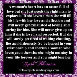 Cherish A Woman Who Loves You..