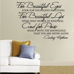 Wall Decals Quotes | Audrey Hepburn for Beautiful Eyes Quote Wall ...
