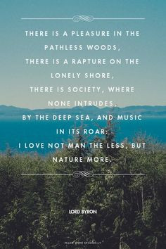 there is a pleasure in the pathless woods there is a rapture on the ...