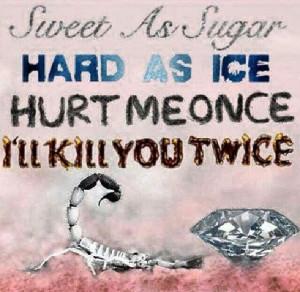 Sweet as sugar hard as ice hurt me once I'll kill you twice!!!