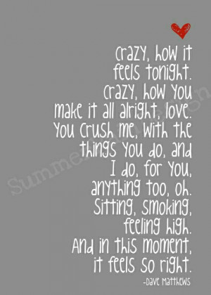 Dave Matthews lyrics~Crush