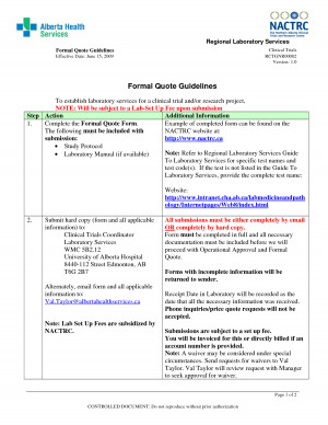 Formal Quote Guidelines
