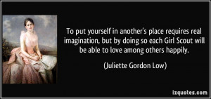 ... Girl Scout will be able to love among others happily. - Juliette