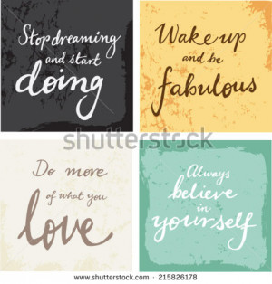 hand written inspirational typographic words quotes on grunge ...