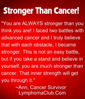 Motivational Quotes for Cancer Patients | stronger than cancer quote