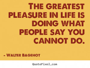 Walter Bagehot picture quotes - The greatest pleasure in life is doing ...