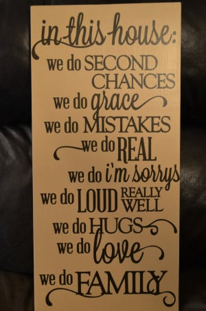 In This House We do Real Family Quote Wooden Wall Sign 12x24