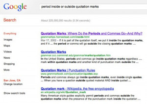 of quotation marks at the end of a sentence so i googled my question ...