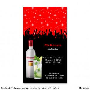... designs Business Cards, Color, Bartender Business, Cocktails Bartender