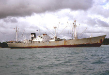 The alleged Chinese freighter M/V Kwai-Chang Caine preparing to drop ...