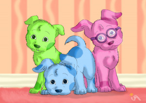 Blues Clues Green Puppy Blue, magenta, and green puppy
