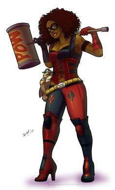 African American Harley Quinn (finished), original artwork More