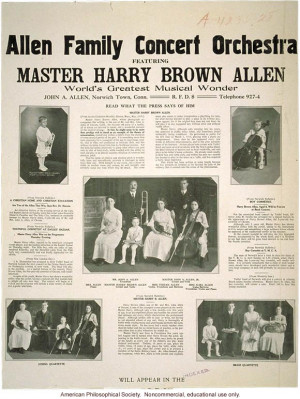 Allen family concert orchestra, featuring Master Harry Allen, world's ...