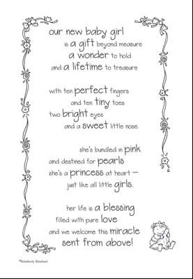 baby girl poem this poem has the sentiments and illustrations to ...