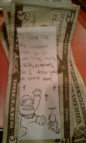 Nice customers leave note for waitress