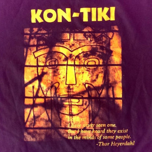 Tiki T-Shirt Large Thor Heyerdahl Wood Raft Expedition Borders Quote ...