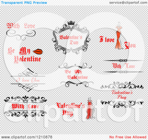 Clipart of Valentine Greetings and Sayings 7 - Royalty Free Vector ...