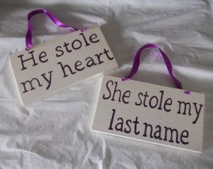 Ivory and Plum He stole my heart/ she stole my last name / chair back ...