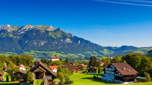 Switzerland Alps mountains summer nature greenery houses Wallpaper.jpg
