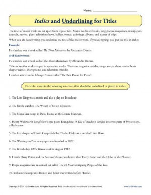 Italics Or Underline Book Titles