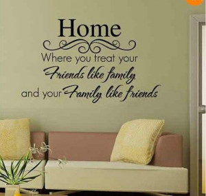 Black Friendship Friends like Family Quote Words Wall Stickers ...